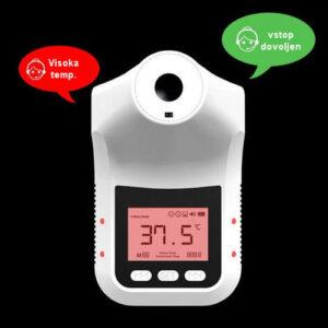 Ob zaznani previsoki telesni temperaturi sproži zvočno opozorilo.